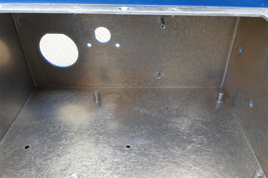 Close up showing the inside of the Electronics Enclosure